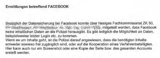 Ermittlungen betreffend Facebook