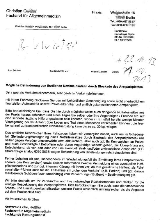 Arztparkplatzhinweis 550x763 Sonderrechte für Medizinmänner