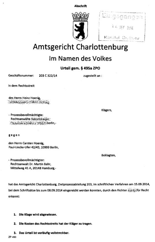 Hoenig verliert Hoenig unterliegt im Zivilprozeß