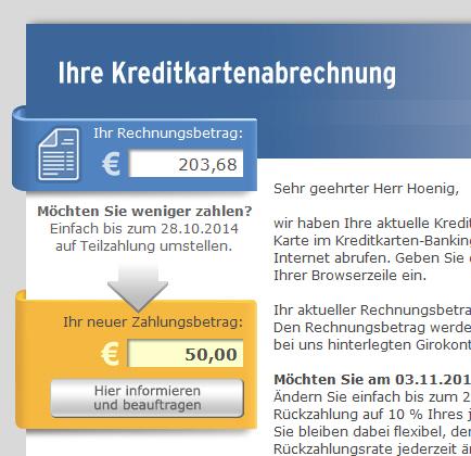 Kreditkartenabrechnung Weniger zahlen?