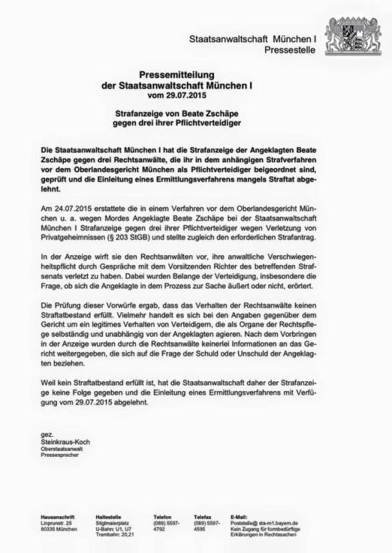 Presseerklärung StA München 29.07.2015