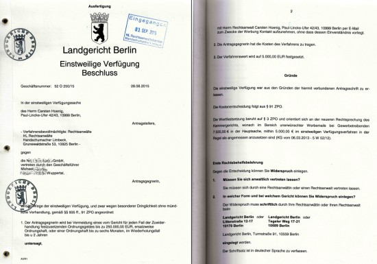 Einstweilige Verfügung LG Berlin 52 O 250_15